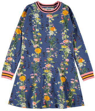 Molo Girl's Conny Floral Printed Long-Sleeve Dress, Size 2-12