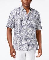 Tasso Elba Men's Big and Tall Silk Linen Leaf-Print Short-Sleeve Shirt, Classic Fit