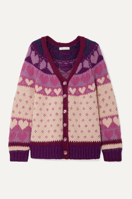 LoveShackFancy Deena Intarsia-knit Cardigan - Blush