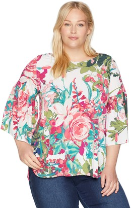 Karen Kane Women's Plus Size Bell Sleeve Side-Slit TOP
