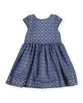 Kate Spade Kimberly Cap-Sleeve Smocked Medallion Lace Dress, Blue, Size 7-14