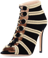 Gianvito Rossi Embroidered Velvet Button Bootie, Black/Glam