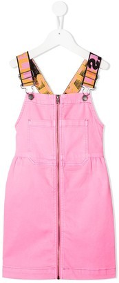 Stella McCartney Kids Logo-Strap Denim Pinafore Dress