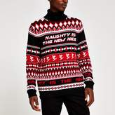 Mens River Island Red roll neck printed Christmas jumper