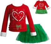 Dollie & Me Girls 4-14 Candy Cane Reindeer Top & Skirt Set