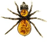 Cozmos Brooches BALTIC AMBER AND STERLING SILVER 925 DESIGNER COGNAC SPIDER BROOCH PIN JEWELLERY JEWELRY