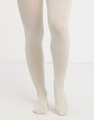 Gipsy fine cable knit tights in cream