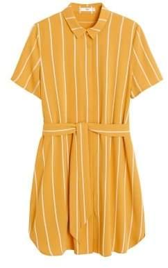 MANGO Belt shirt dress mustard - 2 - Women