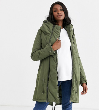 Mama Licious Mamalicious Maternity 2 in 1 padded coat with post birth functionality in khaki
