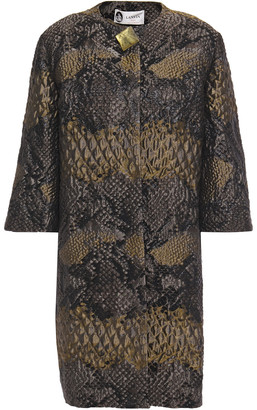 Lanvin Button-embellished Snake-print Brocade Jacket