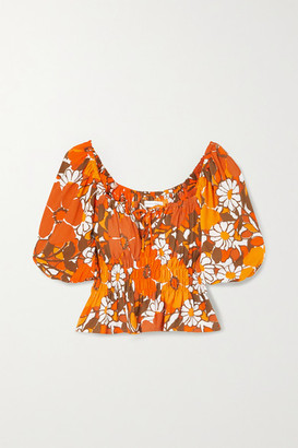 Faithfull The Brand Net Sustain Liberia Shirred Floral-print Crepe Top
