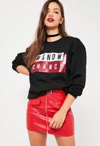 Missguided Black Snow Chance Christmas Sweatshirt