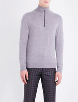 Paul Smith Grey Striped Exposed zip Sweater