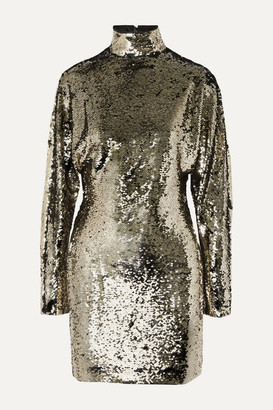 RtA Ansel Sequined Voile Turtleneck Mini Dress - Gold
