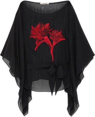 Roberto Cavalli Draped Bead-embellished Silk And Cotton-blend Top