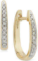 Macy's Channel-Set Diamond Hoop Earrings in 14k Gold (1/10 ct. t.w.)