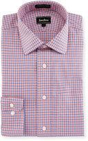 Neiman Marcus Trim-Fit Non-Iron Dobby Check Dress Shirt, Orange/Blue