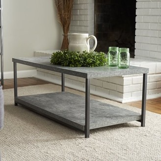 Household Essentials Faux Concrete Slate Coffee Table with Storage Shelf