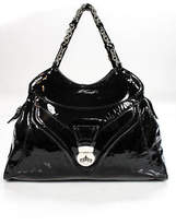 Pollini Black Patent Leather Silver Tone Chain Accents Large Sized Tote Handbag