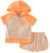 Juicy Couture Orange & Tan Raglan Hoodie & Shorts - Toddler & Girls