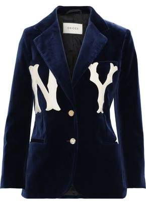 Gucci Appliqued Cotton-blend Velvet Blazer