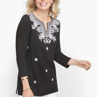 Talbots Embroidered Split Neck Tunic