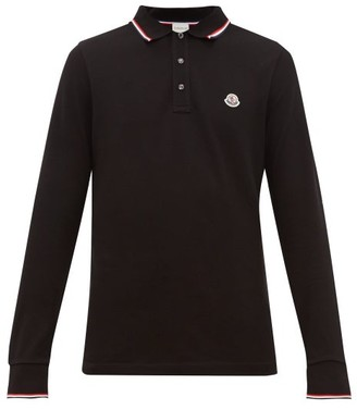 Moncler Logo-applique Cotton-pique Long-sleeve Polo Shirt - Mens - Black