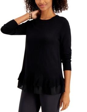 Style&Co. Style & Co Petite Chiffon-Hem Tunic Sweater, Created for Macy's