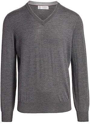 Brunello Cucinelli V-Neck Wool & Cashmere Sweater