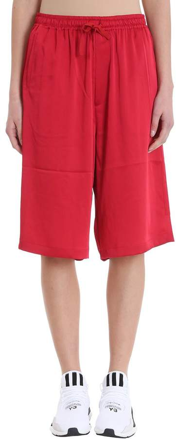 Y-3 Satin Red Cotton Shorts