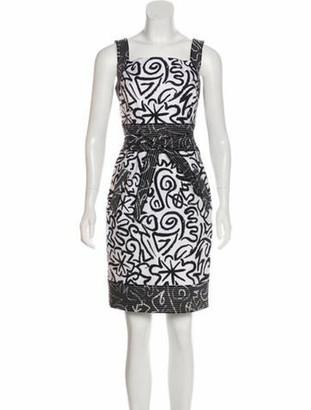 Oscar de la Renta Printed Mini Dress White