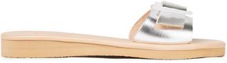 Ancient Greek Sandals Aglaia Buckled Metallic Leather Slides