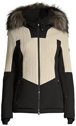 Post Card Crows Fur-Trim Hooded Down Jacket