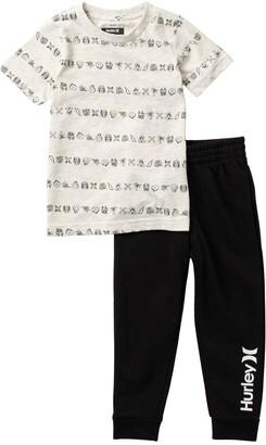 Hurley Creature Stripe T-Shirt & Joggers Set