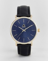 Asos Watch With Black Leather Strap And Navy Face