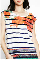 Desigual Sailor Striped Floral Tee