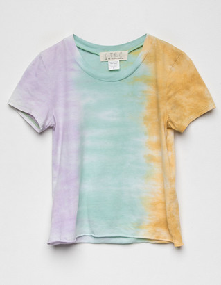 Off the Record Tie Dye Girls Green Combo Tee