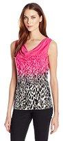 Calvin Klein Women's Printed Cowl Neck Top