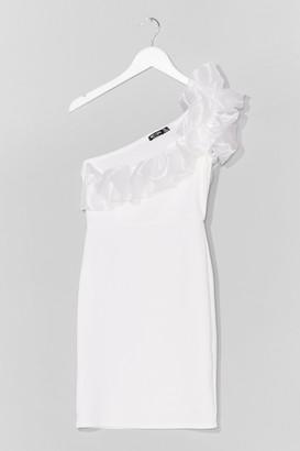 Nasty Gal Womens Organza Ruffle One Shoulder Mini Dress - White