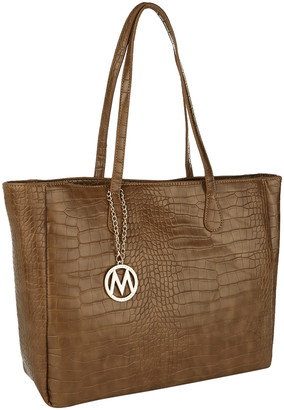 Mkf Collection By Mia K. MKF Collection by Mia K. Women's Handbags Taupe - Taupe Croc-Embossed Tote