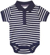 Jo-Jo JoJo Maman Bebe Striped Polo Bodiysuit (Baby)-Navy/Ecru-0-3 Months