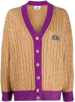 GCDS contrast ribbed trim cardigan