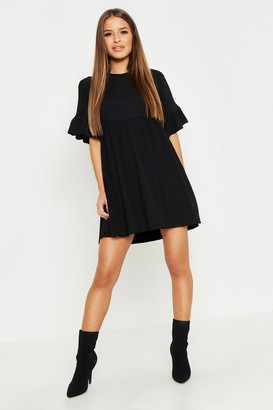 boohoo Petite Ribbed Frill Sleeve Smock Dress