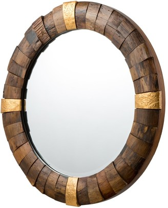 Varaluz True North 30-inch Round Reclaimed Wood with Gold Accents Mirror - Reclaimed Textured Wood, Gold