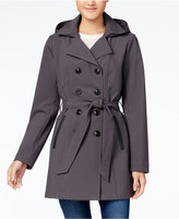 BCX Juniors' Hooded Double-Breasted Trench Coat