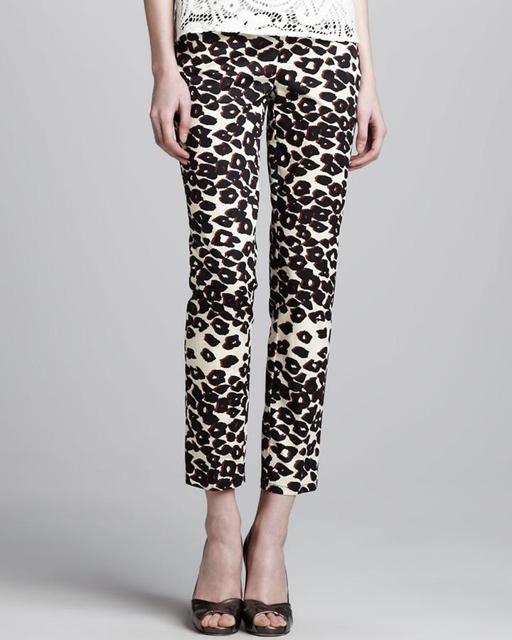 Nanette Lepore Wildlife Cropped Animal-Print Pants