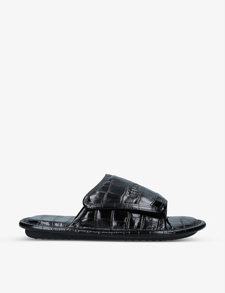 Balenciaga Home logo and crocodile-embossed leather slider sandals