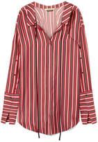 Hellessy Hutton Striped Silk And Cotton-blend Mini Shirt Dress