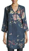 Johnny Was Ludios Tie-Front Floral-Print Georgette Tunic, Plus Size