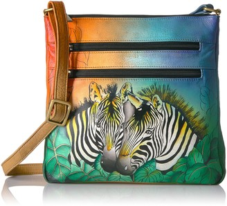 Anuschka Women's Anna Handpainted Leather Medium Organizer Crossbody-Zebra Safari Cross Body Handbag One Size